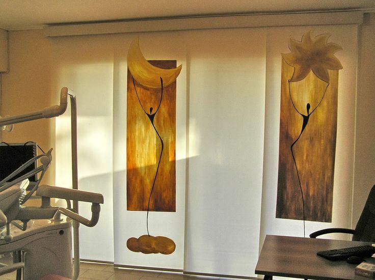 Κουρτίνες επάλληλες πάνελ φιλοτεχνημένες με ζωγραφική στο χέρι