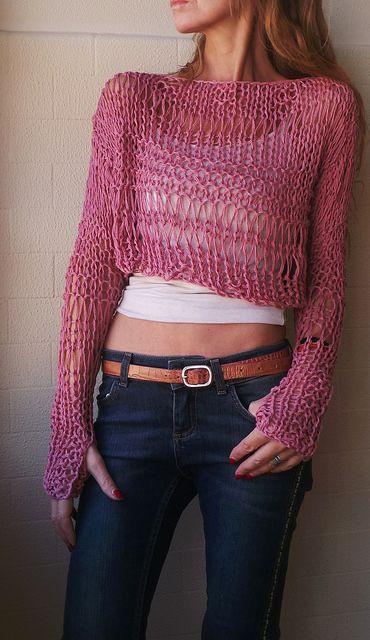 pink cropped iLE AiYE grunge cotton sweater