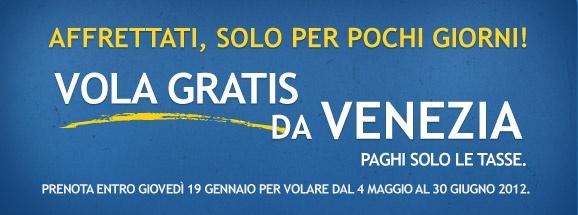 AirOne vi fa volare gratis se prenotate fino al 19 gennaio. I voli sono da Venezia per volare dal 4 maggio al 30 giugno 2012.