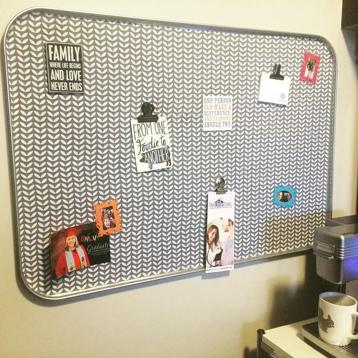 Looking for a weekend project? Pick up an oil drip pan at an auto store add some fabric magnets and hang that up in your kitchen! #crafty #weekendproject #kitchen #kitchendecor
