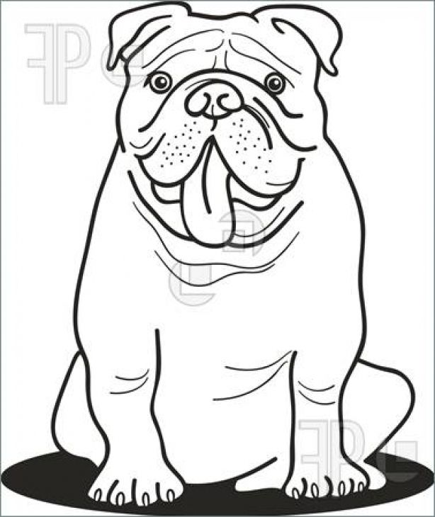 Bulldog Sticking Out Its Tongue Coloring Page Animal