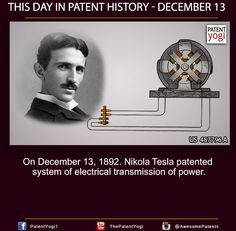 This Day in Patent History – On December 13, 1892. Nikola Tesla patented system of electrical transmission of power
