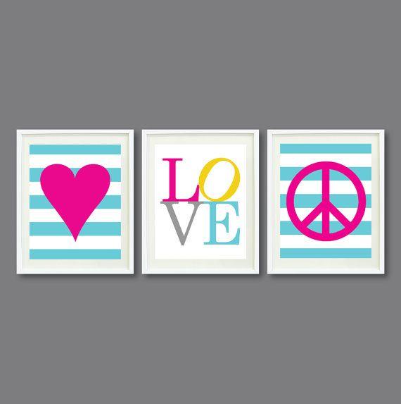 Custom Nursery or Kids Room Art Print Set of Three-8x10-Heart, LOVE, Peace Sign-Aqua Blue, Pink, Yellow, Grey OR Choose Colors-Teens Room on Etsy, $42.00