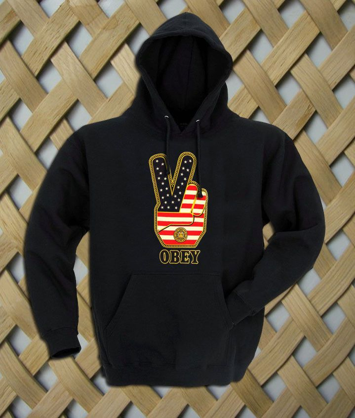 Obey Peace Sign Logo with american flag Hoodie  Hooded Sweatshirt  8.0 oz., 50/50 cotton/polyester Reduced pilling and softer air-jet spun yarn Double-lined hood with matching drawcord (adult style only) 1×1 athletic rib kint cuffs and waistband with spandex Double-needle stitching throughout Front pouch pocket. size: S,M,L,XL. color:black,gray,white,maroon.