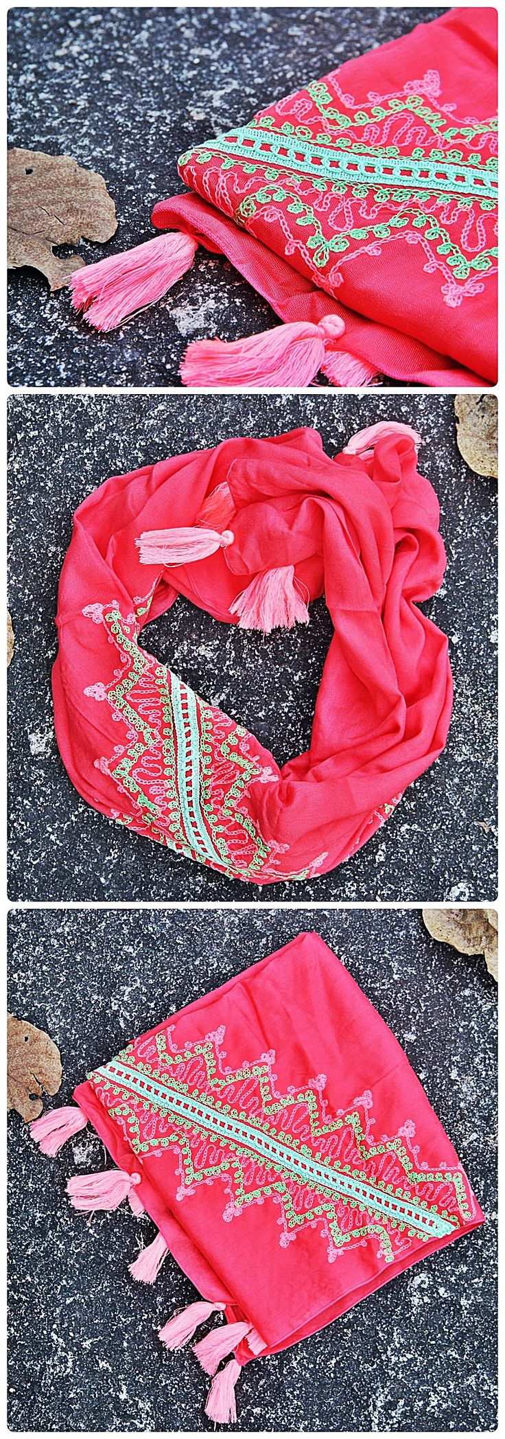 Pañuelos Bordados - Bali Indonesia  $ 8.990  Código: V040 - Rojo  Medidas: 48 x 175 cm.