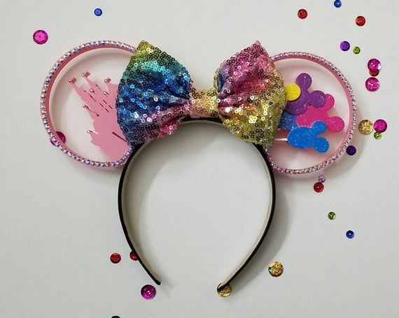Princess Cinderella Castle with Rhinestone bow 3D Mouse Ears