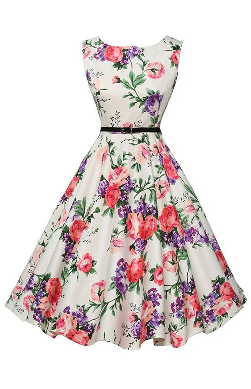 Women's Vintage A Line / Skater Dress,Floral Round Neck Knee-length Sleeveless White Polyester Summer Mid Rise