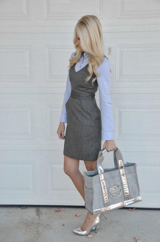 dress shirt under fitted, sleeveless dress