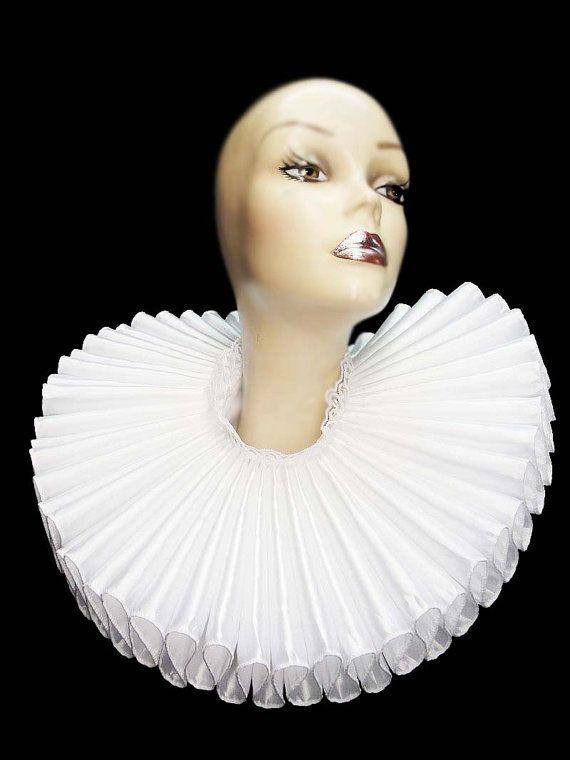 Collier froissé blanc Satin haut large élisabéthaine cou énorme Ruff victorienne…