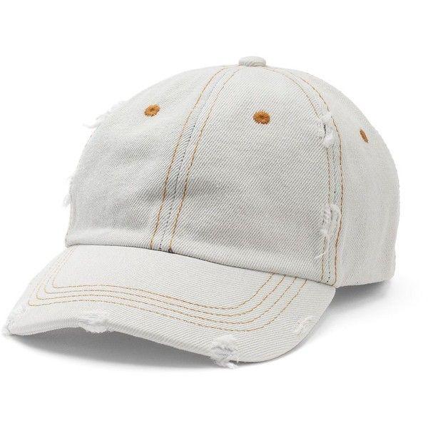 Women's Mudd® Distressed Denim Baseball Hat ($13) ❤ liked on Polyvore featuring accessories, hats, light blue, adjustable baseball caps, adjustable ball caps, stitch hat, vintage baseball hats and adjustable baseball hats
