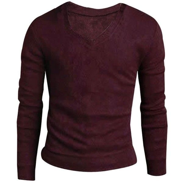 Men V Neck Long-sleeved Casual Fall Slim Fit Cashmere Sweater (€7,14) ❤ liked on Polyvore featuring men's fashion, men's clothing, men's sweaters, mens slim fit sweater, mens cashmere sweaters, mens cashmere v neck sweater, mens v-neck cashmere sweaters and mens sweaters