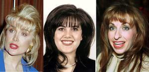 De drie vrouwen die Bill Clinton voor en tijdens zijn presidentschap in problemen brachten. Van links naar rechts Gennifer Flowers, Monica Lewinsky en Paula Jones. Hij schikte de sekszaak van Jones in 1998 voor 850 duizend dollar.