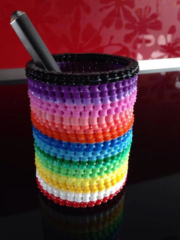 Pencil holder hama beads by Maria Ulriksen
