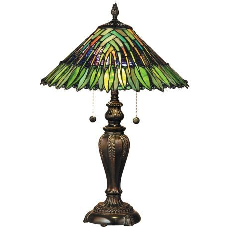 Another Natural Looking stained glass lamp  Dale Tiffany Leavesley Art Glass Table Lamp #LampsPlus #mystyle