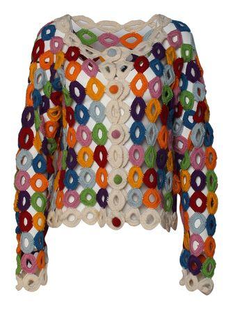 Moschino Cheap Chic Multicolor Crochet Doily Cardigan