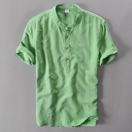 2017 Summer Short Sleeve Shirt Men Linen Clothing …