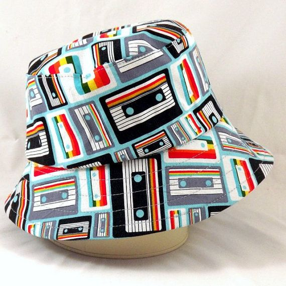 Reversible Bucket Hat Child's Small Cassette Tapes by SewnSowEtsy