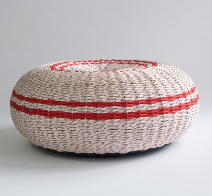 The CP Series consists: hand woven sculptural indoor / outdoor furniture range of 'CrayPot' ottomans, side table and chair. http://www.zenithinteriors.com.au/product/2521/cp-ottoman