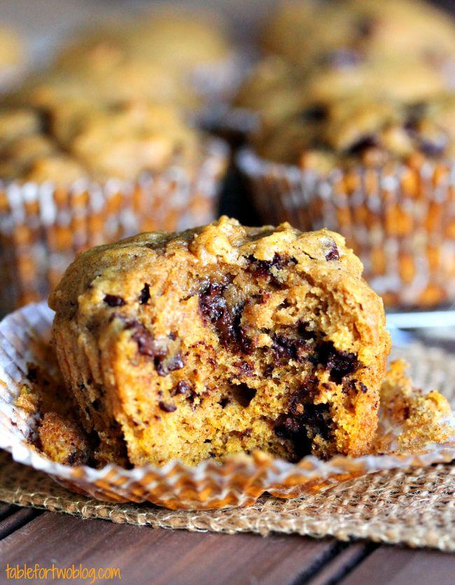 Pumpkin Spice Chocolate Chunk Muffins