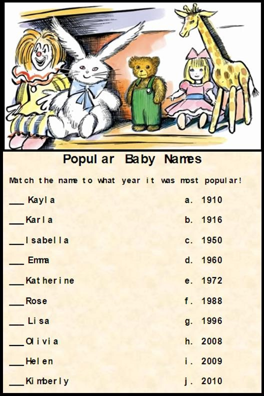 Baby Shower Games   Guess When These Names Were Popular