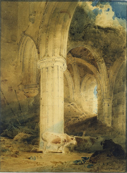 Ruins of Rievaulx Abbey, Yorkshire  Object:  Watercolour    Place of origin:  Yorkshire (painted)    Date:  1803 (made)    Artist/Maker:  Cotman, John Sell (painter (artist))    Materials and Techniques:  Watercolour on paper