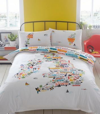 Cover yourself in creativity with this bedding set designed by Ben de Lisi. It features the British Isles design with labelled famous places and fun doodles. Set on a white base, the splashes of colours will bring energy to neutral bedroom settings.