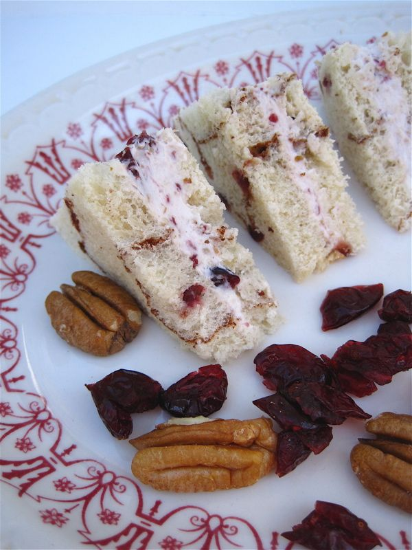 Tea With Friends: Tea Sandwiches Cranberry Pecans 1 (8-ounce) block of cream cheese, softened 3 tablespoons dried cranberries, chopped 2 tablespoons pecans, chopped Combine all ingredients in food processor and pulse until mixture has a light, whipped texture. Yields 1 cup of spread.