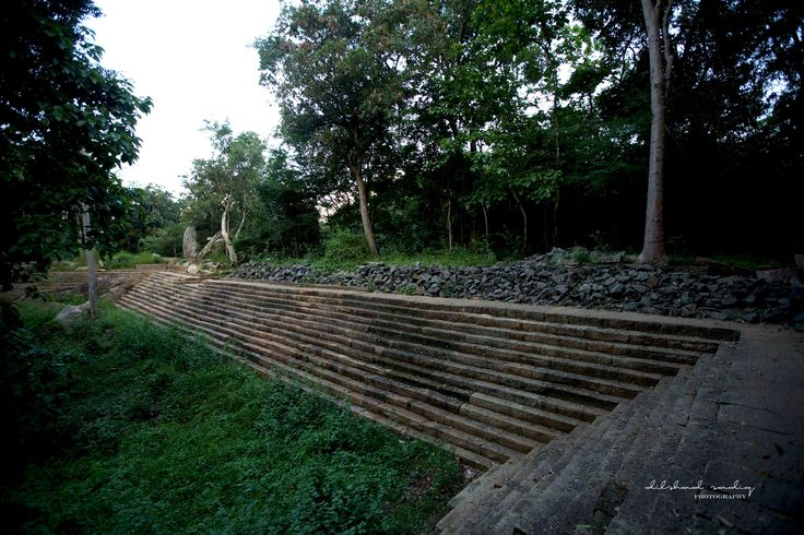 "the granite steps surrounding the ""banda pokuna"" a vast pond which was a source for the monastery complex"
