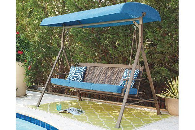 Partanna Swing With Cushion By Ashley Homestore Blue Tan