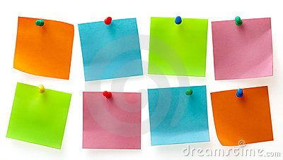 A different color post it note and pins isolated on white background