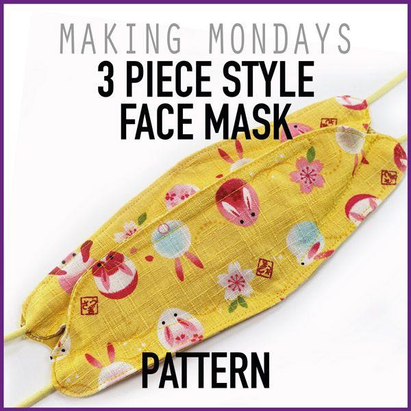3 Piece Style Face Mask Pattern In 2020 Face Mask Pattern Mask