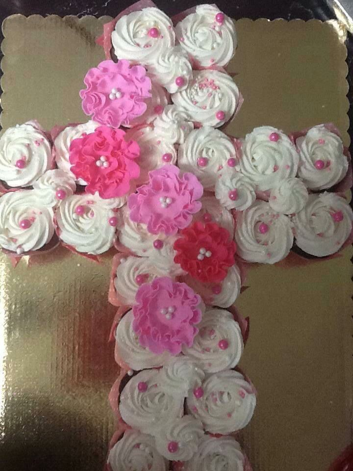 Cross cupcakes for first communion, confirmation or baptism from the Cake Guru