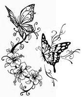 Coloriage adulte Tatouage papillons