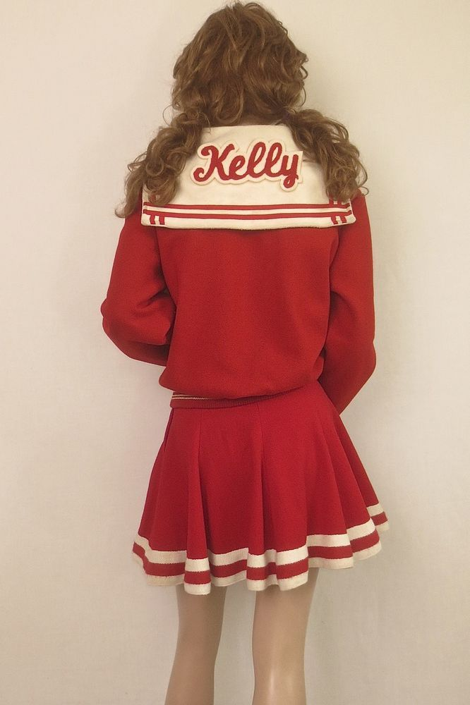 UNIQUE Vintage 1950's Red & White Wool CHEERLEADER Mini Skirt and Sailor Jacket