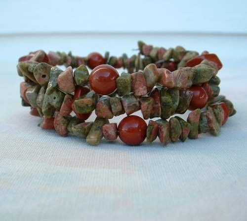 Unakite and Red Jasper Genuine Gemstone Double Wrap Coil Bracelet Jewelry