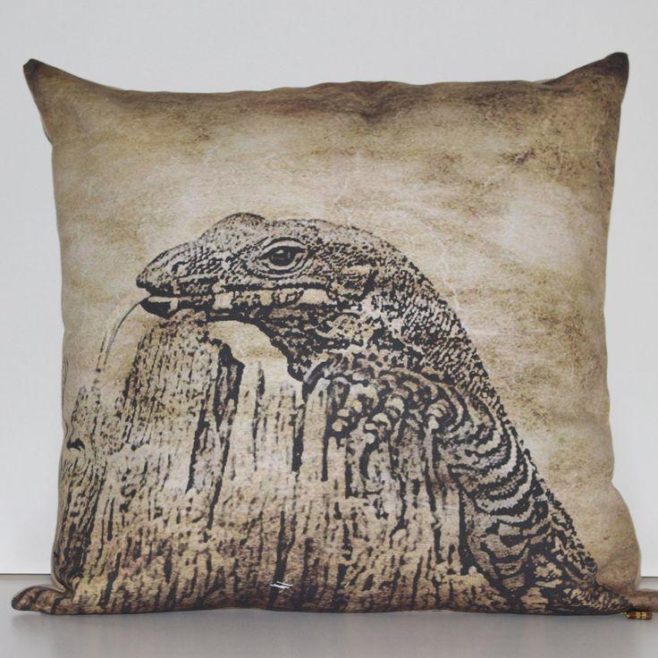 GOANNA CUSHION COVER in Old Brush Tones, wildlife cushion, wildlife pillow, animal cushion, animal pillow, decorative cushion, australian by MuddyPuddleFarm on Etsy