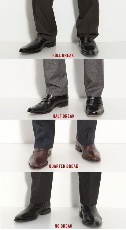 Breaks is where your pants fall on your shoes, creating a horizontal crease in the fabric across the front of your pant leg.    Read more: http://www.askmen.com/fashion/fashiontip_300/317_fashion_advice.html#ixzz2HOoSSExP