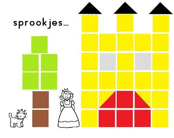 kasteel voorbeeld, naplakken met plakfiguurtjes