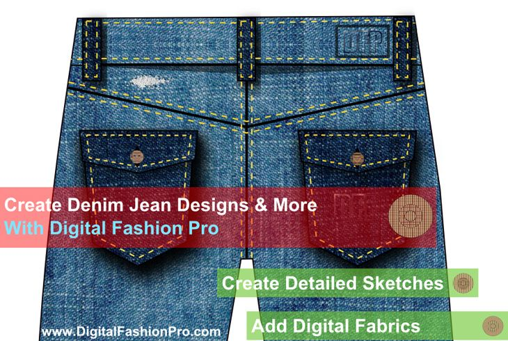 5d4d1422026 Design a Denim Jean Line with Digital Fashion Pro Software. #denim #jeans  #design #designer #fashion #sketch #illustration | Fashion Design Software  ...