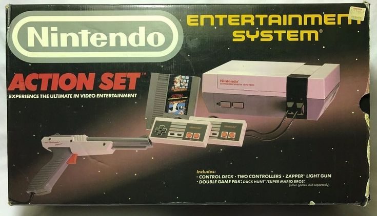 Nintendo Entertainment System Action Set Gray Console in-Box NES Kay Bee Sticker #Nintendo stores.ebay.com/capcollectibles
