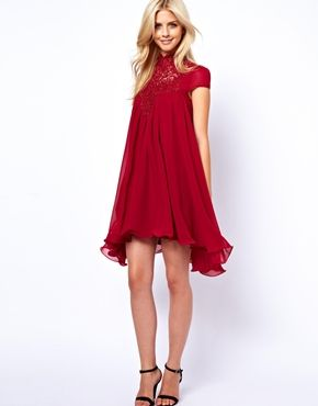 Lydia Bright Swing Dress With Lace Neck   Want this dress so badly but it is so expensive :((