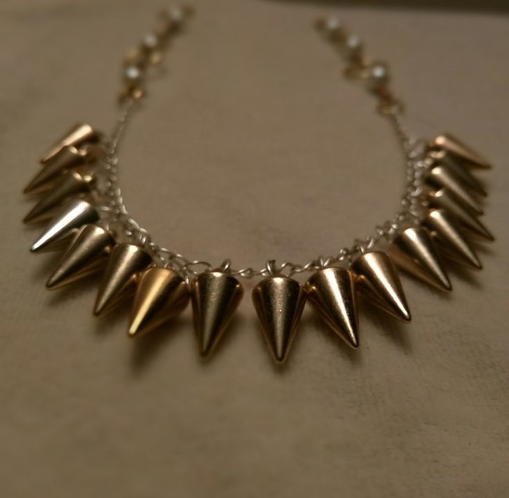 Gold plated Spike Choker and Pearl Drop Earrings by SassieDiva on Etsy