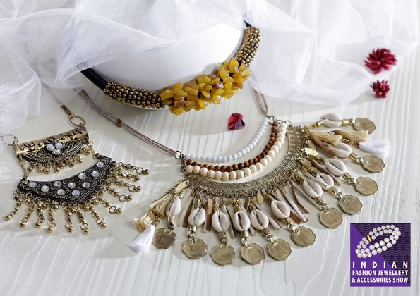 Cowrie & coin choker redefined with beads, tassels & threads……metal and stone adornments….and more…..at IFJAS 2016 #fashion #jewellery #tradeshow #ifjas