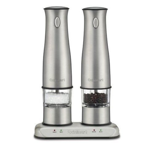 Electric Salt Pepper Grinder Set Brushed Stainless Steel Mill Spice Rechargeable