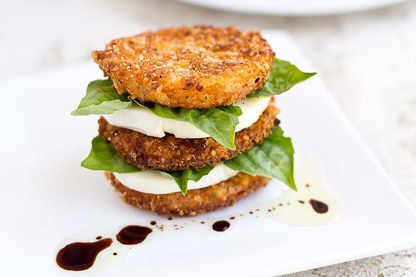 Crispy, Fried Heirloom Tomatoes Caprese  Style