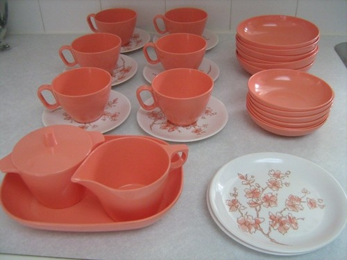 vintage retro rainboware melmac melamine dishes set of 6 pink cherry blossom - Melamine Dishes