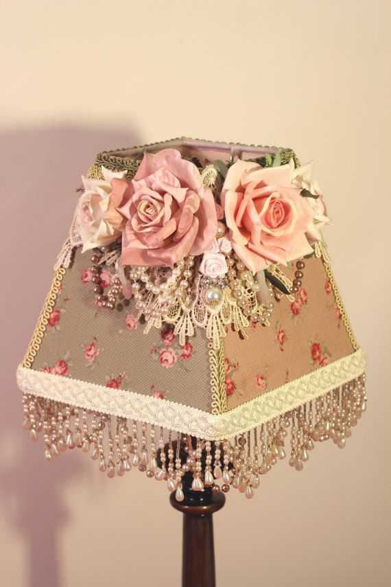 74 best lovely lamp shades images on pinterest lampshades lamp fabric rose and bead embellishments aloadofball Gallery