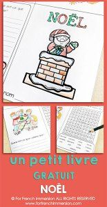 FREE French Christmas Foldable Mini-book - word search and writing prompts.