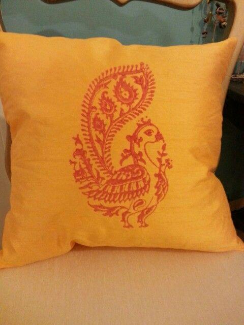 Semi raw silk cushion covers with hand block printed peacock www.facebook.com/nihiraindia