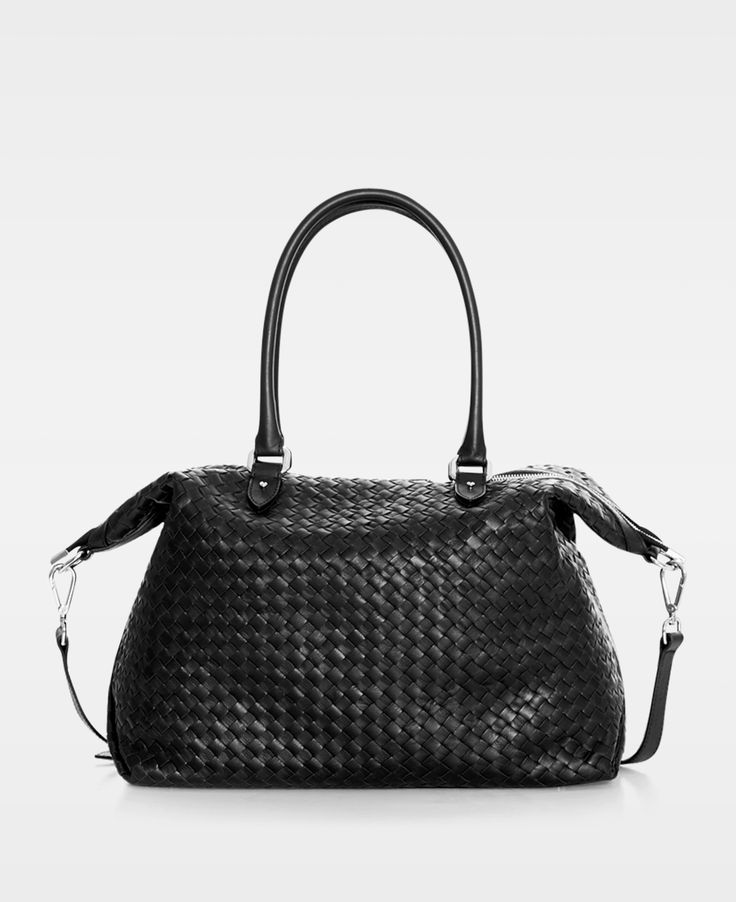 DECADENT Woven Small Hold All in Black leather